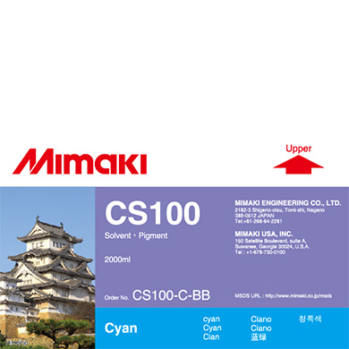 CS100-C-BB CS100 Solvent ink bottle Cyan