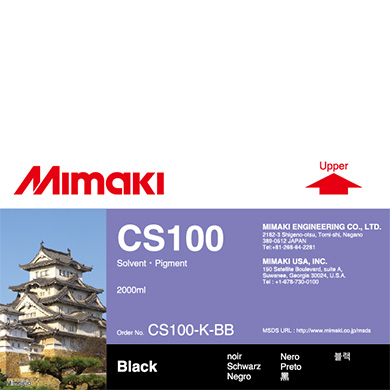 CS100-K-BB CS100 Solvent ink bottle Black