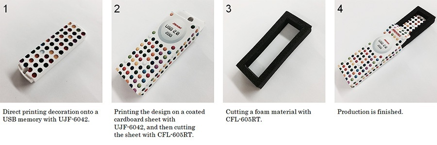 For example, printing on USB memory and creating packaging