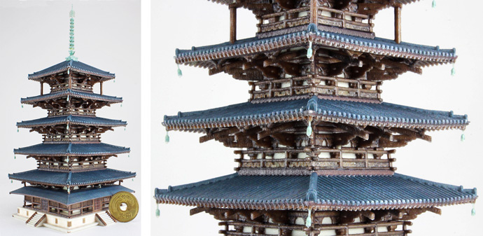 Five Storied Pagoda (Gojyunoto) Modeling (Height) 170 mm: Comparison - Japanese coin (jpy5.-) dia. 22 mm The coin is not a 3D model.