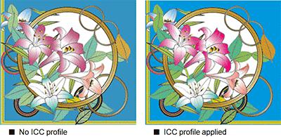 No ICC profile / ICC profile applied