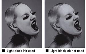 Light black ink used/not used