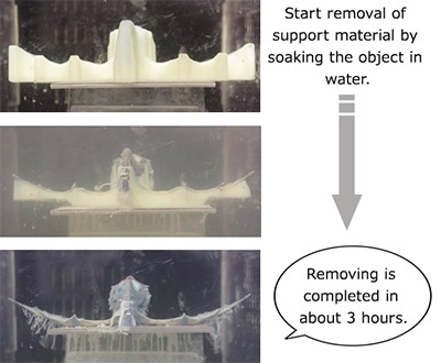 Start removal of support material by soaking the object in water.