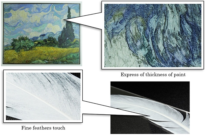 Express of thickness of paint / Fine feathers touch