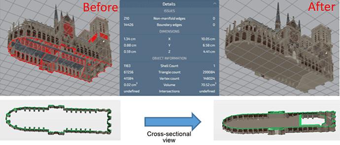 CLOSE HOLES (hole-filling correction): Mimaki 3D Print prep Pro